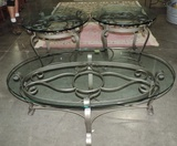 3 Piece Iron & Glass End Tables And Coffee Table