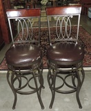 Pair Of Iron & Wood Bar Stools