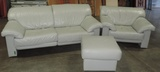 3 Piece Grey Leather Sofa, Chair, And Ottoman