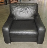 Dark Grey Leather Armchair With Chrome Legs