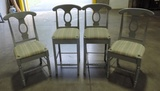 Set Of 4 Grey Painted Chairs