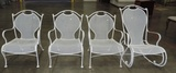 Set Of 4 White Iron Outdoor Patio Chairs