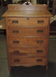 Antique 5 Drawer Oak Chest