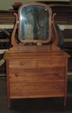 Antique Oak 2/2 Dresser With Mirror