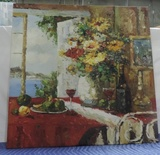 Impressionistic Oil On Canvas Italian Wine Table Scene