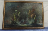 Signed Oil On Canvas Sailing Ships At Night