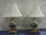 Pair Of Ceramic And Brass Decorative Table Lamps With Shades