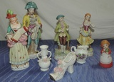 8 Piece Porcelain And Bisque Figurines And Knik Knacks