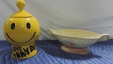 Mccoy Smile Face Cookie Jar And A Hull Footed Bowl