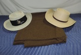 Ww 2 Army Blanket And 2 Straw Hats