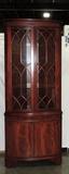 Federal Style Mahogany 2 Piece Corner Cabinet