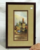 Original Signed European Watercolor Of Village