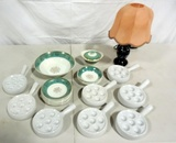 Miscellaneous Snail Bowls, China And Lamp Lot