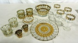 Tray Lot Gold Decorated Glassware