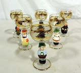 Set Of 6 Porcelain And Gold Decorated Crystal Wine Glasses