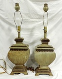 Pair Of Vintage Composition Table Lamps