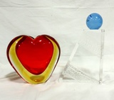 Modern Lucite Bookend And Signed Art Glass Heart Vase