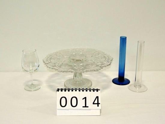 Pressed Glass Crystal Pedestal Cake Plate Plus More