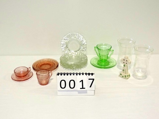 Green Pink And Crystal Depression Glass Lot