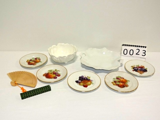 Coalport Cabbage Bowl, German Fruit Plates And Serving Tray