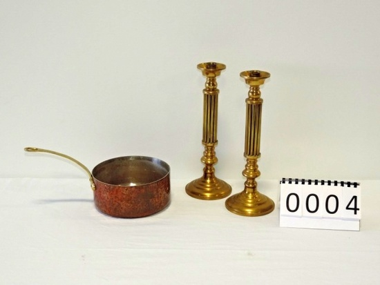 Pair Of Solid Brass Candlesticks And Copper Pan