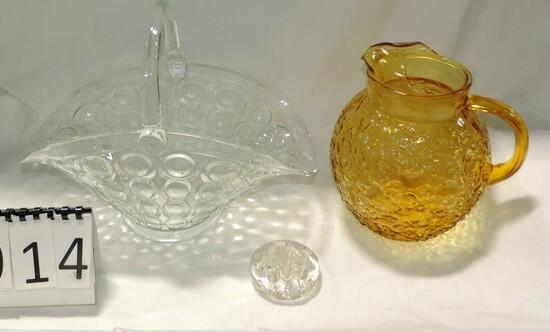 Crystal Brides Basket, 60's Glass Pitcher & Glass Flower Frog