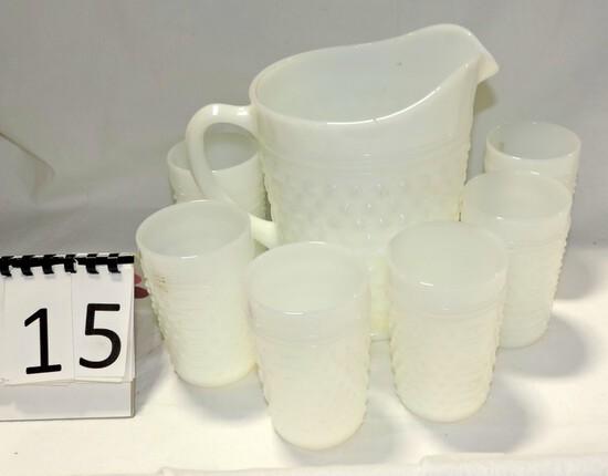 7 Piece Hobnail Milk Glass Water Set