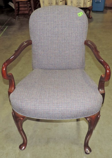 Queen Anne Style Mahogany Arm Chair