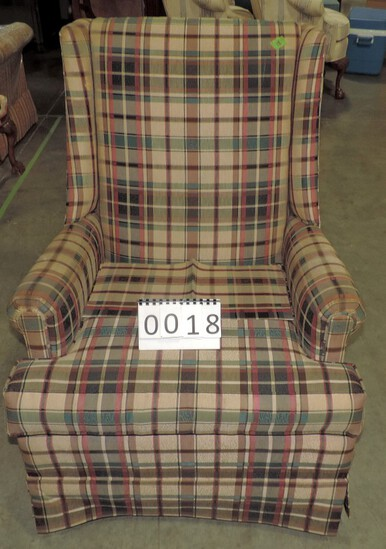 Plaid Upholstered Arm Chair