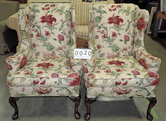 Pair Of Floral Wing Chairs