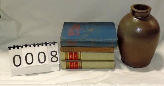 Albany Slip Antique Half Gallon Jar And Books Lot