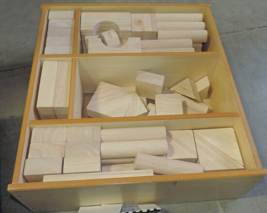 Plan Toys Wood Natural Finish Blocks In Divided Box