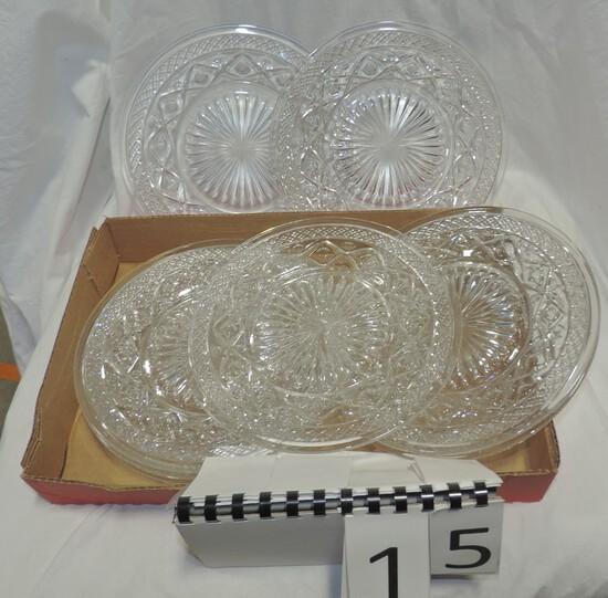 Vintage 28 Pc Pressed Glass Stemware & Plate Set