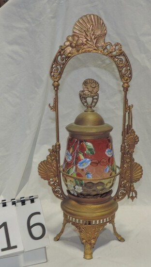 Ornate Victorian Pickle Caster With Hp Cranberry Glass