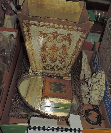 Decorative Italian Waste Basket & Box Plus Other Objects