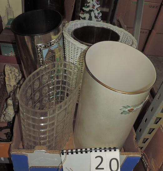5 Vintage Waste Cans