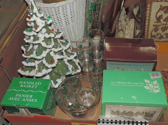 Nice Christmas Glassware & Ceramic Light Up Tree Lot