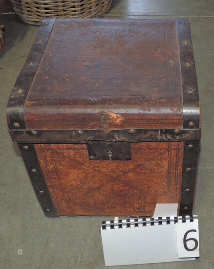 Antique Leather & Metal Banded Box