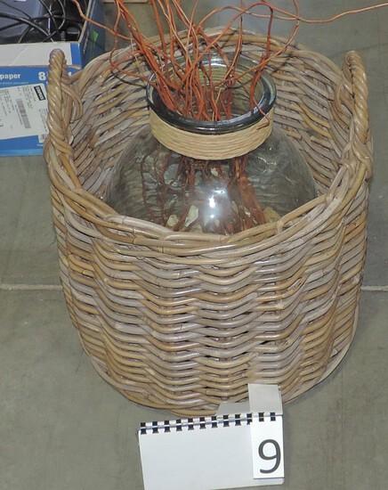 Round Wicker Handled Basket & Large Glass Jar Vase