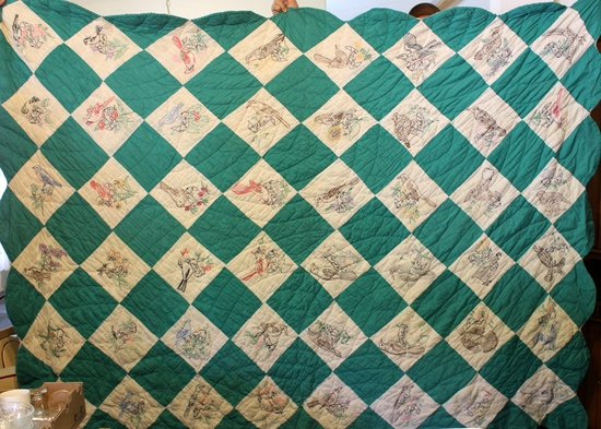 1940's-50's Handmade Southern State Bird Quilt