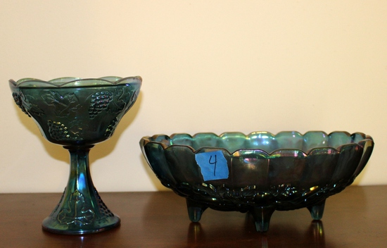 (2) Pieces of Blue Carnival Glass