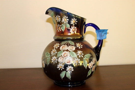 Early Carnival  Glass Hand Painted Blue Carnival Glass Pitcher