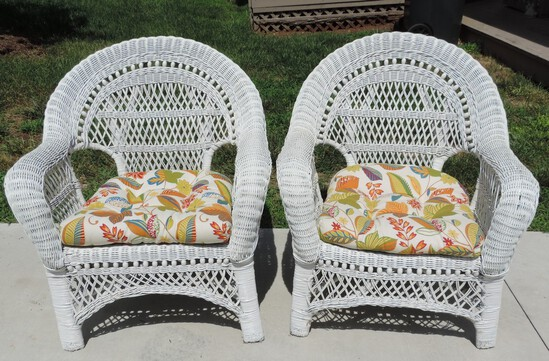 Pair of (2) White Wicker Chairs