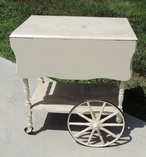 1940's Painted White Tea Cart