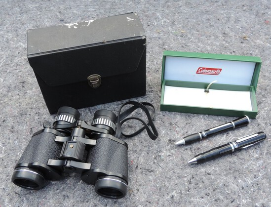 Sears Binoculars and Coleman Pen Set