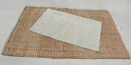 Hemp Area Rug and White Throw Rug