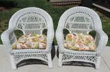 Pair of (2) White Wicker Chairs