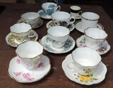 (9) Antique Cups and Saucers