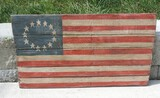 Hand Painted Wooden American Flag