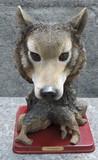 Toberto Leaonardo Wolf Sculpture on Plank